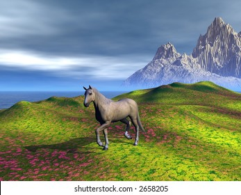 A horse, walking on a meadow. Rendered with Bryce 6