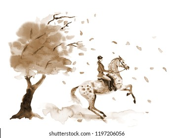 Horseback rider and rearing dapple grey horse. Autumn tree with falling windy leaves. Sepia on white monochrome watercolor or ink hand drawing art. Girl on stallion. England equestrian hunting style