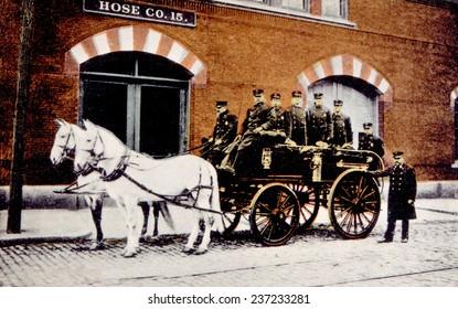 Horse-drawn fire engine, Provincetown, Rhode Island, c.1902.