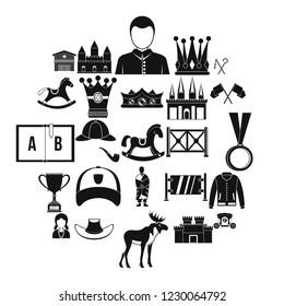 Horsemanship icons set. Simple set of 25 horsemanship icons for web isolated on white background