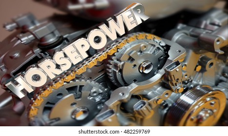 Horsepower Engine Vehicle Fast Speed Energy Word 3d Illustration