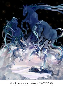 Horses bearing winter - a wind, a blizzard, an icy cold