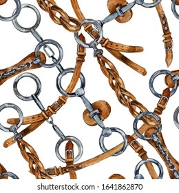 horses harness. equestrian seamless pattern