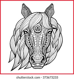 Horse's head in style zentangle on the grunge background. Head of a horse with a mane made asymmetrical. It may be used for design of a t-shirt, bag, postcard, a poster and so on. Logo. Icon. Symbol.
