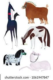 Horses illustration raster set. Colored print. Akhal-Teke, Draft horse, piebald, mini and albino horse. Animal characters for magazines, books, t-shirt prints or packaging design.