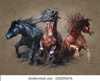 Horses watercolor painting animals woldlife