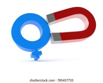 Horseshoe magnet with male gender symbol isolated on white background. 3d illustration