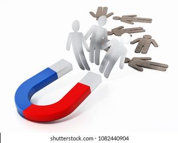 Horseshoe magnet pulling metal figures. 3D illustration.