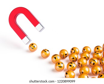 Horseshoe red magnet attracting smiles spheres. Happiness creativity concept. 3d rendering illustraiton isolated on white background