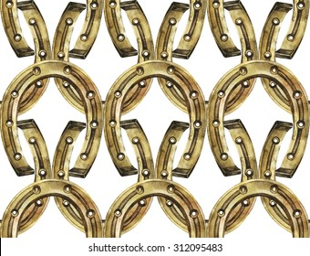 Horseshoes in golden color. Talisman for good luck. Watercolor seamless pattern