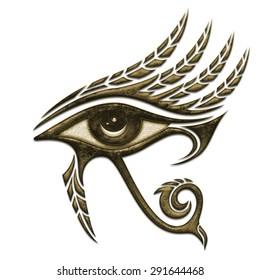 Horus eye, falcon god, feathers