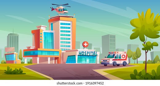 Hospital building with ambulance van, helicopter on roof, cityscape with trees and skyscrapers. modern healthcare clinic architecture, first emergency transport, urgency ambulatory office
