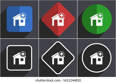 Hospital building flat design icons with shadows