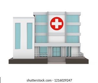 Hospital Building Isolated. 3D rendering