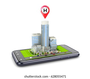 The hospital building is located on the smart-phone. Navigator. 3D illustration