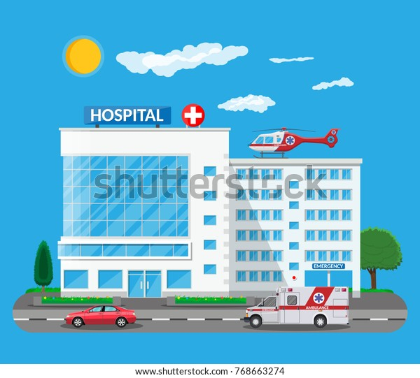 Hospital building medical center front view icon Vector Image