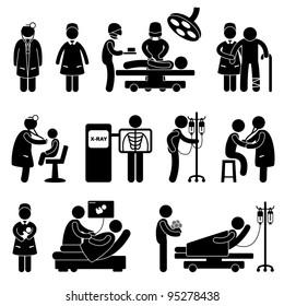 Hospital Clinic Medical Healthcare Doctor Nurse Icon Symbol Sign Pictogram
