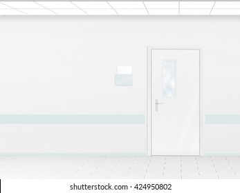 Hospital corridor with blank wall mockup and door, 3d render. Room sign mock up template on entry in ward. Medical hall interior sickroom. Clear closed door signage plate. Infirmary light hallway