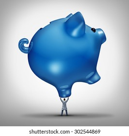 Hospital costs health care budget concept as a doctor holding up a giant piggy bank icon as a medical financial support symbol for health insurance or the heavy burden of medicine prices.