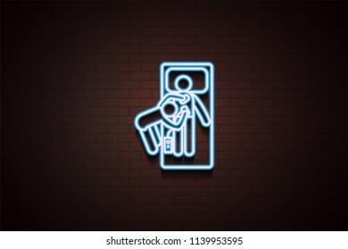hospital electroshock icon in Neon  on dark brick wall background