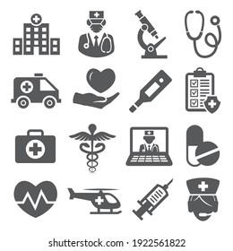 Hospital icons set on white background.