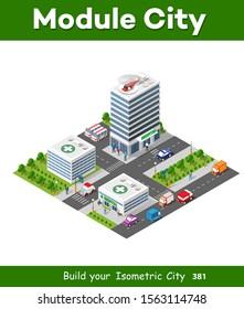Hospital Isometric Building Health Urban