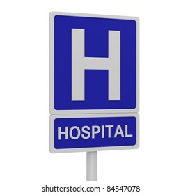 Hospital road sign on a white background.