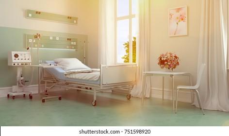 Hospital room for patients or nursing home bedroom (3D Rendering)