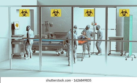 Hospital scene, hospitalization for emergency contagion risk. Coronavirus. Doctors and doctors in protective suits and masks to cover the face. Infectious epidemic risk. 3d render. Hospital. Isolated