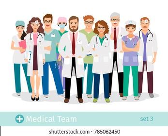 Hospital team. Medical staff flat professionals group in uniform illustration