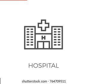 Hospital Thin Line Icon. Flat Icon Isolated on the White Background.