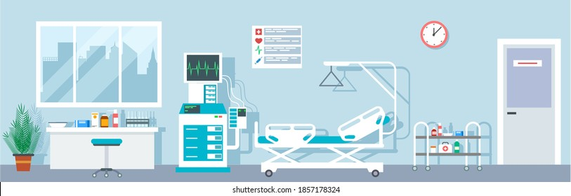 Hospital ward. Empty emergency room indoor. Intensive therapy rooms with bad, medical equipment. flat interior