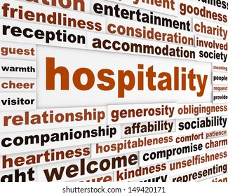 Hospitality creative words conceptual poster. Generosity conceptual message background