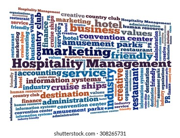 Hospitality Management in word collage