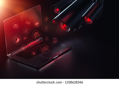 Hostile cameras searches computer for passwords, sensible data and possible backdoors. Internet surveillance. Vulnerability for hacker attacks concept. 3D rendering