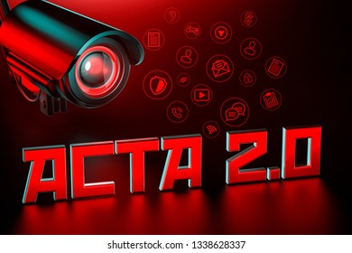 Hostile CCTV is keeping eye on ACTA 2.0 sign. United Europe Parlament regulation that can change internet we know concept. 3D rendering