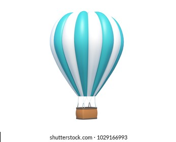 Hot air balloon blue white stripes, colorful aerostat isolated on white. 3d render