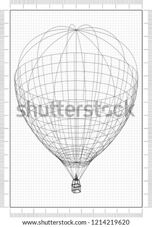 Hot Air Balloon Blueprint Stock Illustration 1214219620