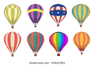 Hot air balloon. Colored aircraft transport with basket sky airing flight collection