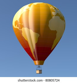 Hot air balloon with earth globe decoration, blue sky background