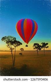 a hot air balloon over the Masa Mara at dawn