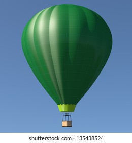 Hot air balloon with single green color - blue sky background