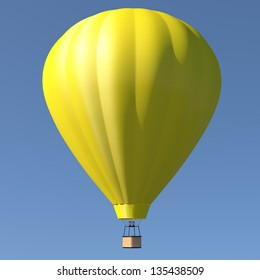 Hot air balloon with single yellow color - blue sky background