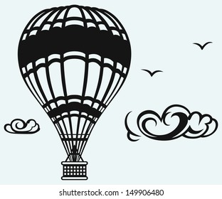 Hot air balloon in the sky isolated on blue background. Raster version