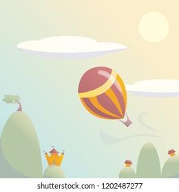 Hot Air Balloon Soaring Over Kingdom Illustration