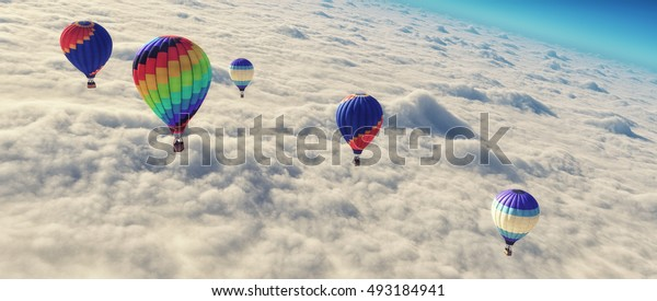 Hot air balloons flying over clouds.  This is a 3d render illustration