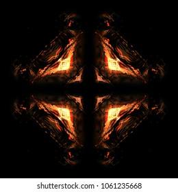 Hot blazing fire geometric kaleidoscope with diamonds