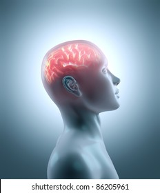 Hot brain in a cold body. Concept of technology, cyborg, brainstorm and intelligence