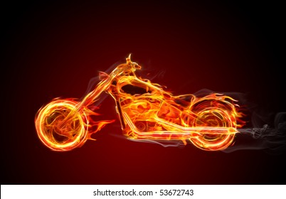 Hot burning bike with flames and smoke