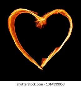 Hot burning symbol of heart. Fire heart
